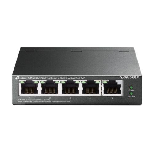 TP-LINK (TL-SF1005LP) 5-Port 10/100 Unmanaged Desktop Switch, 4-Port PoE, Intelligent Power, Steel Case