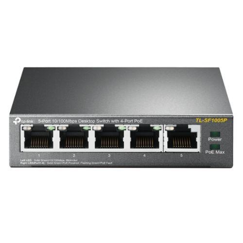 TP-LINK (TL-SF1005P) 5-Port 10/100 Unmanaged Desktop Switch, 4 Port PoE, Steel Case