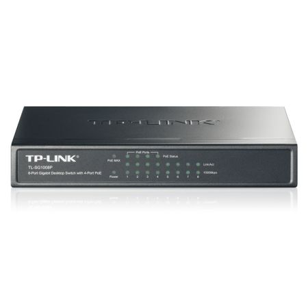 TP-LINK (TL-SG1008P) 8-Port Gigabit Unmanaged Desktop Switch, 4-Port PoE, Steel Case