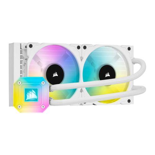 Corsair iCUE H100i ELITE CAPELLIX 240mm RGB Liquid CPU Cooler, 2 x 12cm ML120 RGB PWM Fans, White