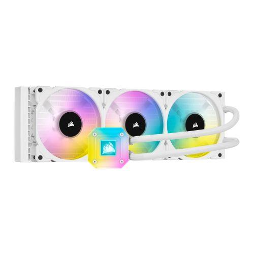 Corsair iCUE H150i ELITE CAPELLIX 360mm RGB Liquid CPU Cooler, 3 x 12cm ML120 RGB PWM Fans, White