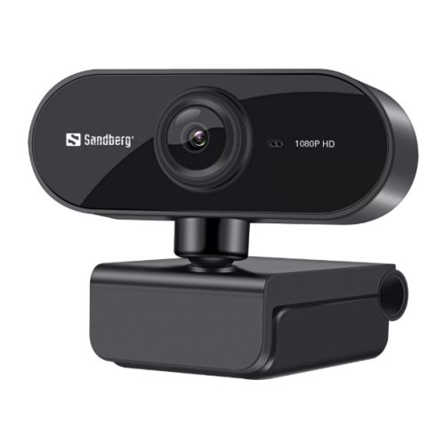 Sandberg USB Flex FHD 2MP Webcam with Mic, 1080p, 30fps, Glass Lens, Auto Adjusting, 360� Rotatable, Clip-on/Desk Mount, 5 Year Warranty