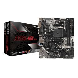 Asrock A320M-HDV R4.0, AMD A320, AM4, Micro ATX, 2 DDR4, VGA, DVI, HDMI, M.2