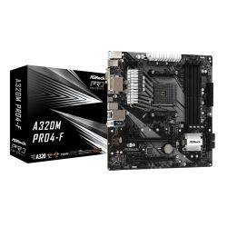 Asrock A320M PRO4-F, AMD A320, AM4, Micro ATX, 4 DDR4, VGA, DVI, HDMI, M.2