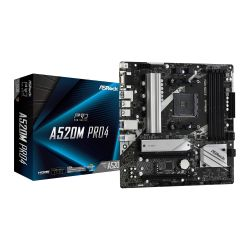 Asrock A520M PRO4, AMD A520, AM4, Micro ATX, 2 DDR4, VGA, HDMI, DP, M.2