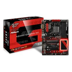 Asrock AB350 GAMING K4, AMD B350, AM4, ATX, 4 DDR4, VGA, DVI, HDMI, RGB Lighting