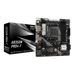 Asrock AB350M PRO4-F, AMD B350, AM4, Micro ATX, 4 DDR4, VGA, DVI, HDMI, XFire, M.2