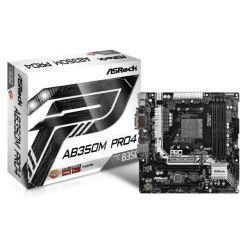 Asrock AB350M PRO4, AMD B350, AM4, Micro ATX, 4 DDR4, VGA, DVI, HDMI, RAID, M.2