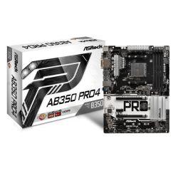Asrock AB350 PRO4, AMD B350, AM4, ATX, 4 DDR4, VGA, DVI, HDMI, RAID, M.2