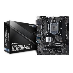 Asrock B360M-HDV, Intel B360, 1151, Micro ATX, DDR4, VGA, DVI, HDMI, M.2
