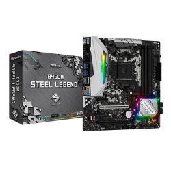 Asrock B450M STEEL LEGEND, AMD B450, AM4, Micro ATX, 4 DDR4, HDMI, DP, XFire, Rock-Solid Durability, RGB Lighting, M.2