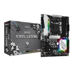 Asrock B450 STEEL LEGEND, AMD B450, AM4, ATX, 4 DDR4, HDMI, DP, XFire, Rock-Solid Durability, RGB Lighting, M.2