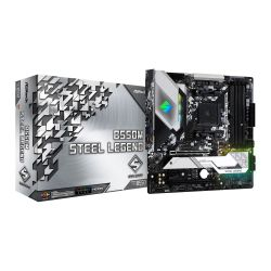 Asrock B550M STEEL LEGEND, AMD B550, AM4, Micro ATX, 4 DDR4, HDMI, DP, XFire, 2.5GB LAN, PCIe4, RGB Lighting, M.2