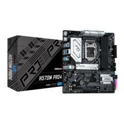 Asrock H570M PRO4, Intel H570, 1200, Micro ATX, 4 DDR4, XFire, HDMI, DP, RGB, 2x M.2