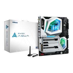 Asrock Z490 AQUA, Intel Z490, 1200, EATX, 4 DDR4, XFire/SLI, HDMI, Thunderbolt3, AX Wi-Fi, 10GB & 2.5GB LAN, RGB Lighting, M.2