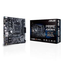 Asus PRIME A320M-K, AMD A320, AM4, Micro ATX, 2 DDR4, VGA, HDMI, M.2, RAID, LED Lighting