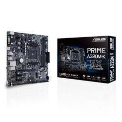 Asus PRIME A320M-K, AMD A320, AM4, Micro ATX, 2 DDR4, VGA, HDMI, RAID, LED Lighting, M.2