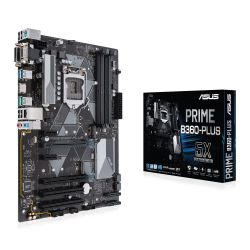 Asus PRIME B360-PLUS, Intel B360, 1151, ATX, DDR4, VGA, DVI, HDMI, XFire, Dual M.2, LED Lighting