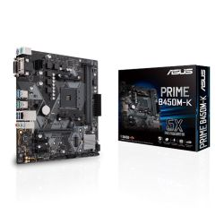 Asus PRIME B450M-K, AMD B450, AM4, Micro ATX, 2 DDR4, VGA, DVI, LED Lighting, M.2