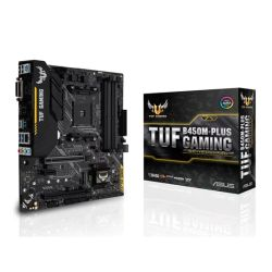 Asus TUF B450M-PLUS GAMING, AMD B450, AM4, Micro ATX, 4 DDR4, XFire, DVI, HDMI, M.2, RGB Lighting