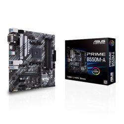 Asus PRIME B550M-A, AMD B550, AM4, Micro ATX, 4 DDR4, VGA, DVI, HDMI, PCIe4, M.2