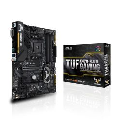 Asus TUF X470-PLUS GAMING, AMD X470, AM4, ATX, DDR4, DVI, HDMI, XFire, Dual M.2, RGB Lighting