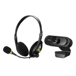 Sandberg Bundle - USB Headset with Boom Mic 325-26 & FHD USB Webcam with Mic 333-96 - Soft Bundle Boxed Separately - 5 Year Warranty