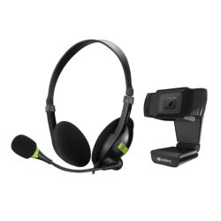 Sandberg Bundle - USB Headset with Boom Mic 325-26 & 480p USB Webcam with Mic 333-95 - Soft Bundle Boxed Separately - 5 Year Warranty