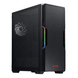 ADATA XPG Starker ARGB Compact Gaming Case w/ Glass Window, ATX, Front ARGB Lighting Strips, 2 Fans (1 RGB), LED Control Button, On-Rail Dust Filter, Black