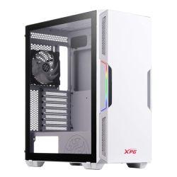 ADATA XPG Starker ARGB Compact Gaming Case w/ Glass Window, ATX, Front ARGB Lighting Strips, 2 Fans (1 RGB), LED Control Button, On-Rail Dust Filter, White