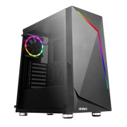 Antec NX300 ATX Gaming Case with Window, No PSU, Tempered Glass, ARGB Rear Fan & Front ARGB LED Strip, LED Control Button, Black