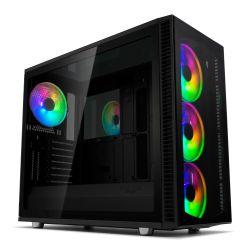 Fractal Design Define S2 Vision RGB Gaming Case w/ Dark Tint Glass Windows, E-ATX, ARGB Strip, 4 ARGB Fans, RGB Controller, Fan Hub, USB-C