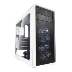 Fractal Design Focus G (White) Gaming Case w/ Clear Window, ATX, 2 White LED Fans, Kensington Bracket, Filtered Front, Top & Base Air Intakes
