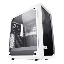Fractal Design Meshify C (White TG) Gaming Case w/ Clear Glass Window, ATX, Angular Mesh Front, High-airflow, 2 x 12cm Fans, White