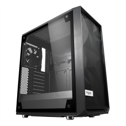 Fractal Design Meshify C (Light TG) Gaming Case w/ Light Tint Glass Window, ATX, Angular Mesh Front, High-airflow, 2 x 12cm Fans