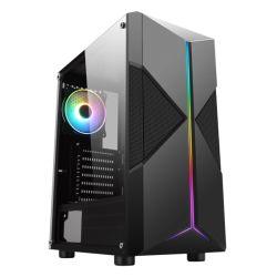 Spire Pyro ARGB Gaming Case w/ Glass Window, ATX, ARGB Strips w/ IC connection, 1 ARGB Fan, Mesh Top & 2 Front Cut-Outs