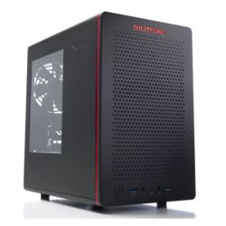 Riotoro CR280 SFF Gaming Case with Window, Mini ITX, No PSU, 2 x 12cm Fans, Large GPU & PSU Support, Black & Red