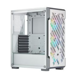 Corsair iCUE 220T RGB Airflow Gaming Case with Tempered Glass Window, ATX, 3 x SP120 RGB PRO Fans, White