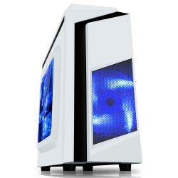 Spire F3 Micro ATX Gaming Case with Windows, No PSU, Blue LED Fan & Black Stripe, Card Reader