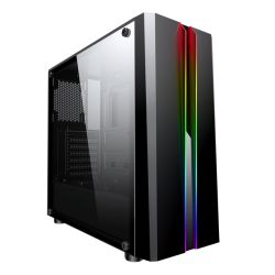 Spire Zoom ATX Gaming Case with Tempered Glass Window, No PSU, Rainbow RGB Front Strips with Control Button
