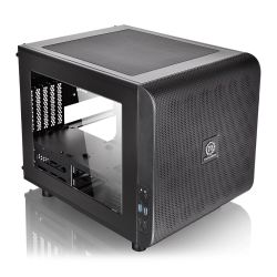 Thermaltake Core V21 Gaming Cube Case with Window, Micro ATX, No PSU, Mesh Front, Stackable, Black