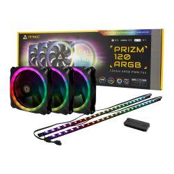 Antec Prizm 120 ARGB PWM RGB Kit, 3 x 12cm Case Fans + LED Strips + Controller