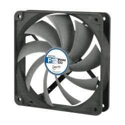 Arctic F12 12cm PWM PST Case Fan for Continuous Operation, Black & Grey, 9 Blades, Dual Ball Bearing, 6 Year Warranty
