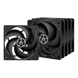 Arctic P12 Pressure Optimised 12cm Case Fans x5, Black, Fluid Dynamic, Value Pack 5 Fans, 6 Year Warranty
