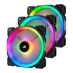 Corsair LL120 12cm PWM RGB Case Fans x3, 16 LED RGB Dual Light Loop, Hydraulic Bearing, Lighting Node PRO Kit Included