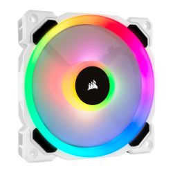 Corsair LL120 12cm PWM RGB Case Fan, 16 LED RGB Dual Light Loop, Hydraulic Bearing, White, Single Fan Expansion Pack