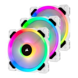 Corsair LL120 12cm PWM RGB Case Fans x3, 16 LED RGB Dual Light Loop, Hydraulic Bearing, White, Lighting Node PRO Kit Included