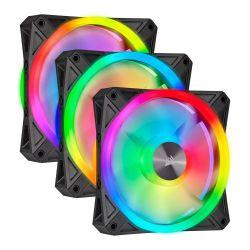 Corsair iCUE QL120 12cm PWM RGB Case Fans x3, 34 ARGB LEDs, Hydraulic Bearing, Lighting Node CORE Included