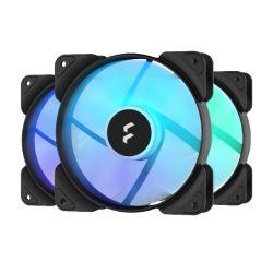 Fractal Design Aspect 12 12cm RGB Case Fan x3, Rifle Bearing, Supports Chaining, Aerodynamic Stator Struts, 1200 RPM, Black Frame