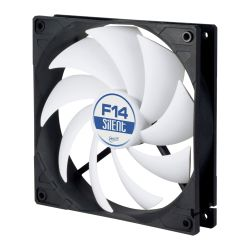 Arctic F14 Silent 14cm Case Fan, Black & White, 9 Blades, Fluid Dynamic, 6 Year Warranty